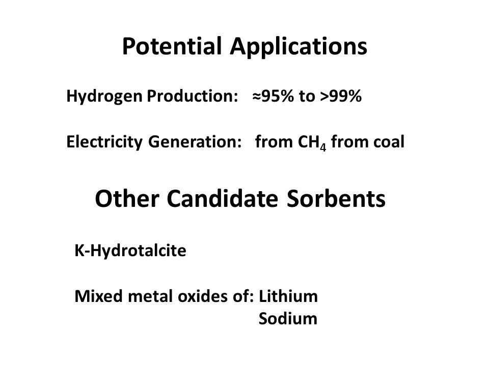 Potential Applications Hydrogen Production: ≈95% to >99% Electricity Generation: from CH 4 from coal Other Candidate Sorbents K-Hydrotalcite Mixed metal oxides of: Lithium Sodium