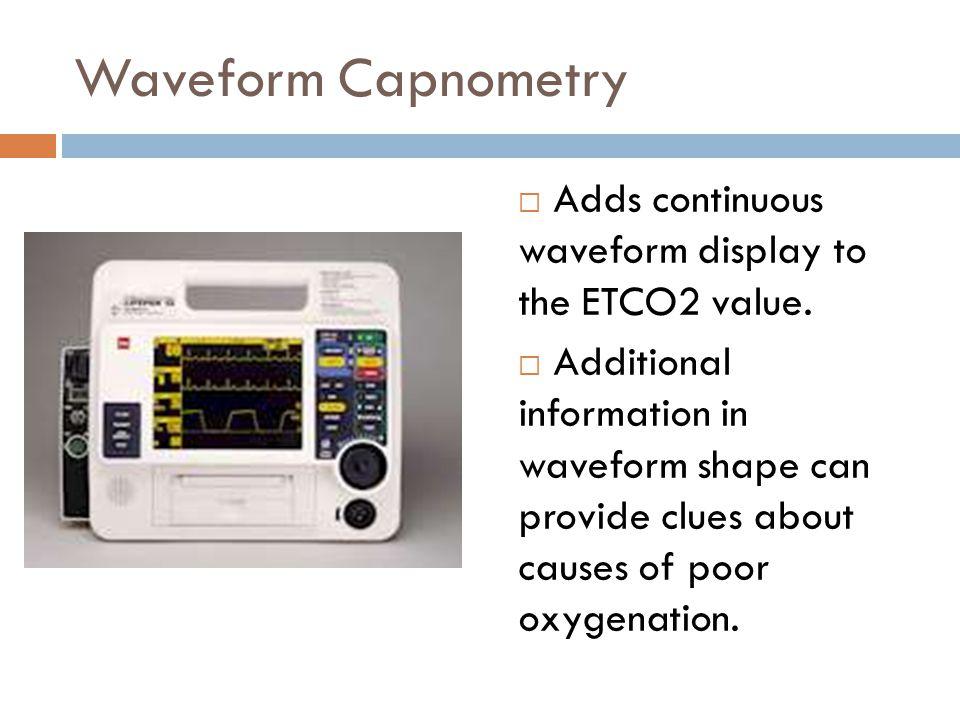 Waveform Capnometry  Adds continuous waveform display to the ETCO2 value.