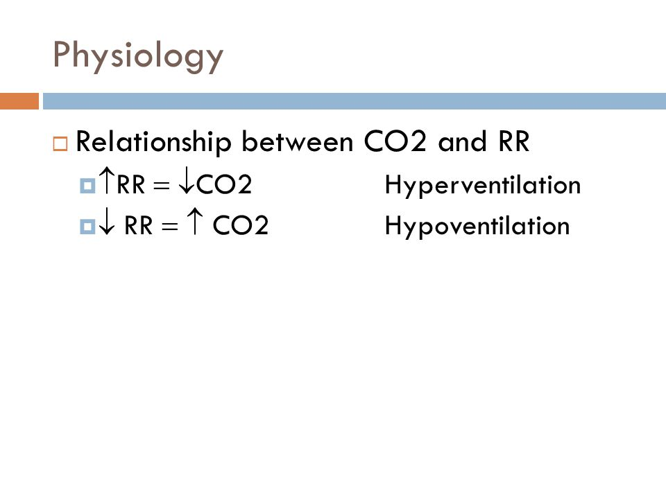  Relationship between CO2 and RR   RR   CO2 Hyperventilation   RR   CO2Hypoventilation Physiology