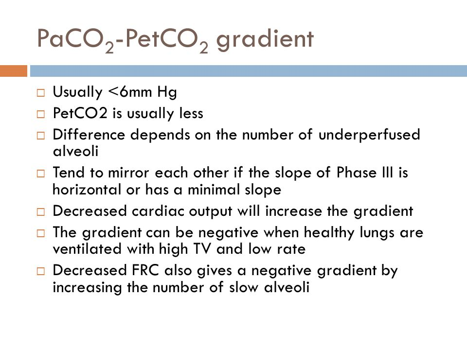 PaCO 2 -PetCO 2 gradient  Usually <6mm Hg  PetCO2 is usually less  Difference depends on the number of underperfused alveoli  Tend to mirror each other if the slope of Phase III is horizontal or has a minimal slope  Decreased cardiac output will increase the gradient  The gradient can be negative when healthy lungs are ventilated with high TV and low rate  Decreased FRC also gives a negative gradient by increasing the number of slow alveoli
