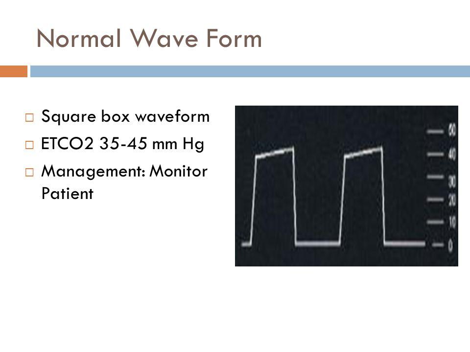 Normal Wave Form  Square box waveform  ETCO2 35-45 mm Hg  Management: Monitor Patient