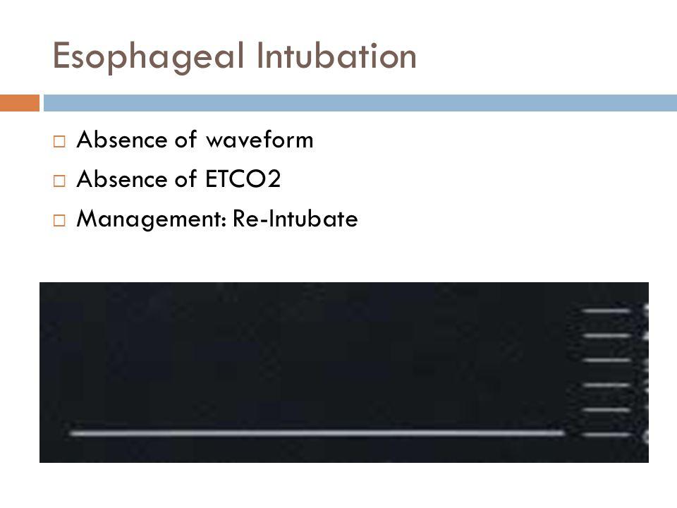Esophageal Intubation  Absence of waveform  Absence of ETCO2  Management: Re-Intubate