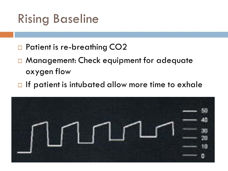 Rising Baseline  Patient is re-breathing CO2  Management: Check equipment for adequate oxygen flow  If patient is intubated allow more time to exhale