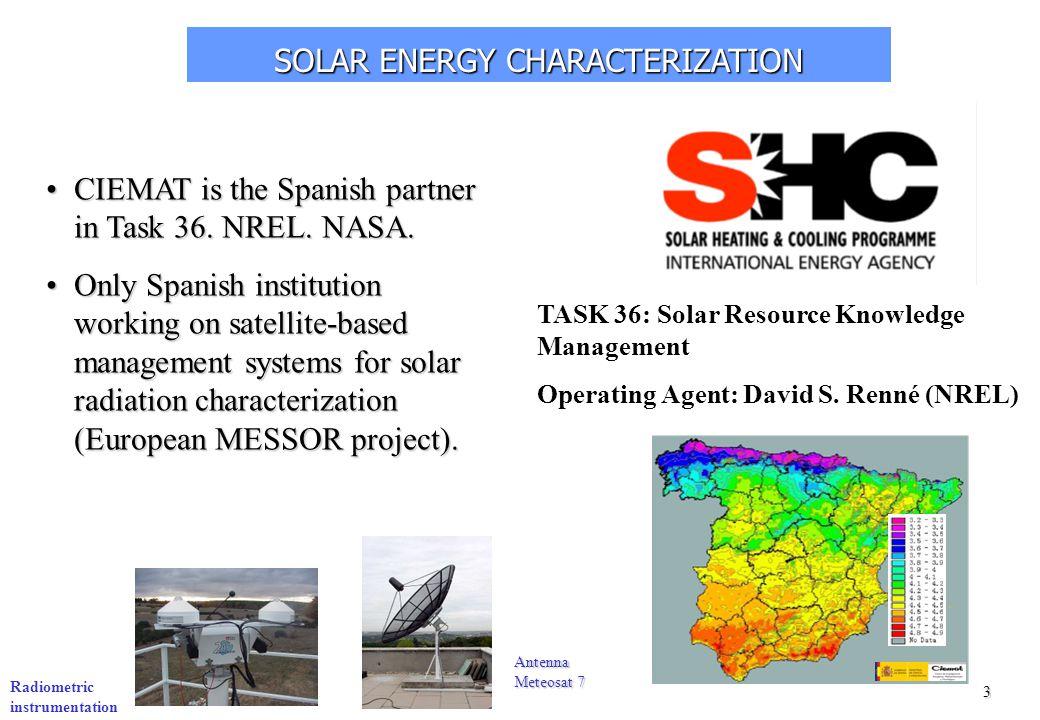 3 SOLAR ENERGY CHARACTERIZATION Radiometric instrumentation Antenna Meteosat 7 TASK 36: Solar Resource Knowledge Management Operating Agent: David S.
