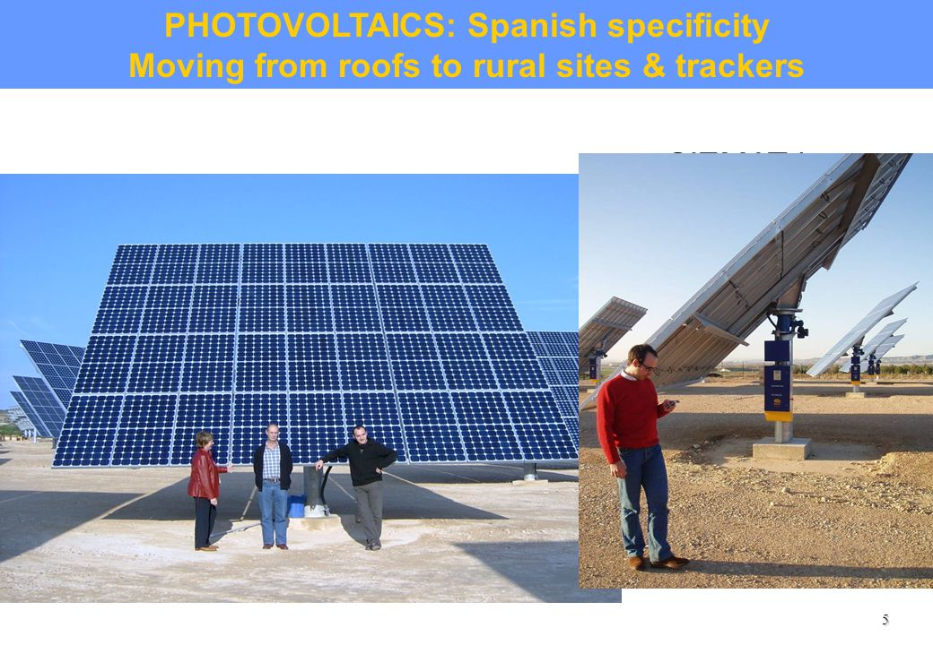 5 CIEMAT has an experienced unit for testing PV components and monitoring and evaluating grid- connected large PV power plants.