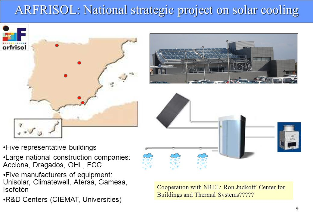 9 ARFRISOL: National strategic project on solar cooling Five representative buildings Large national construction companies: Acciona, Dragados, OHL, FCC Five manufacturers of equipment: Unisolar, Climatewell, Atersa, Gamesa, Isofotón R&D Centers (CIEMAT, Universities) Cooperation with NREL: Ron Judkoff.