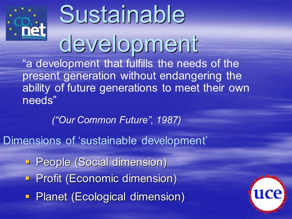 "Sustainable development  People (Social dimension)  Profit (Economic dimension)  Planet (Ecological dimension) ""a development that fulfills the nee"