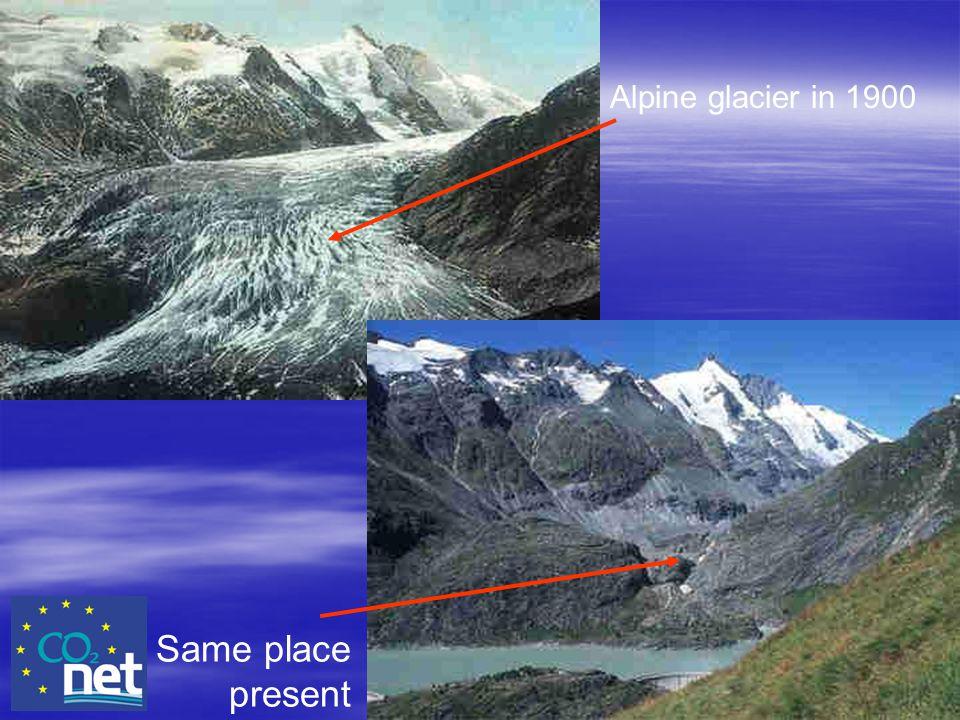Alpine glacier in 1900 Same place present