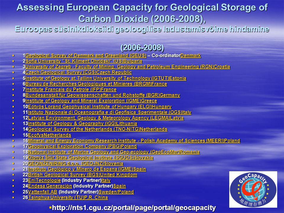 Assessing European Capacity for Geological Storage of Carbon Dioxide (2006-2008), Euroopas süsinikdioksiidi geoloogilise ladustamisvõime hindamine (20