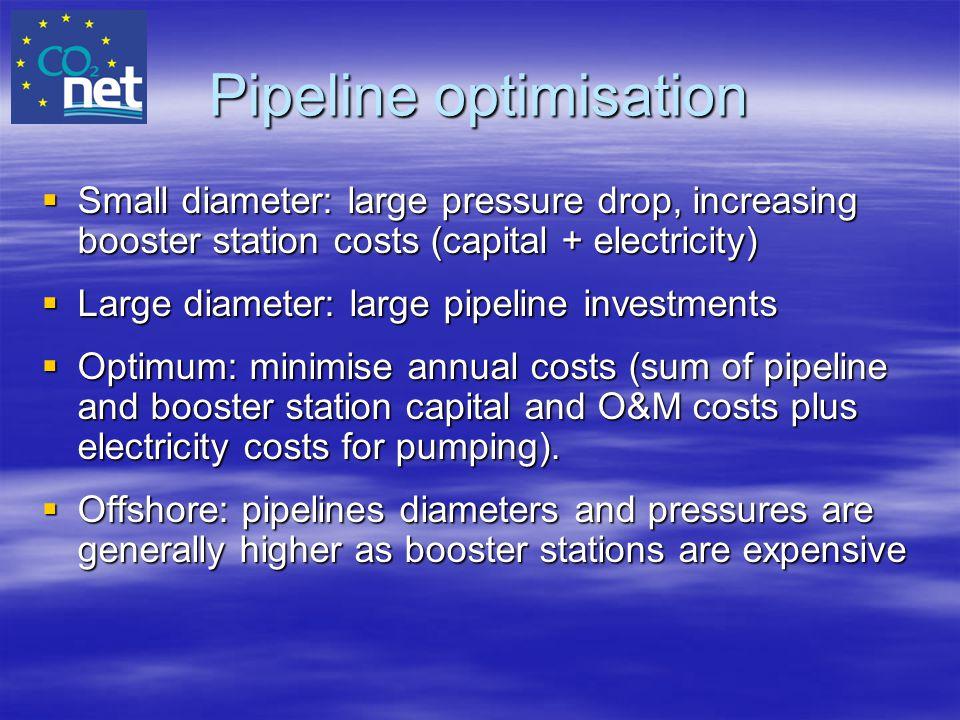 Pipeline optimisation  Small diameter: large pressure drop, increasing booster station costs (capital + electricity)  Large diameter: large pipeline