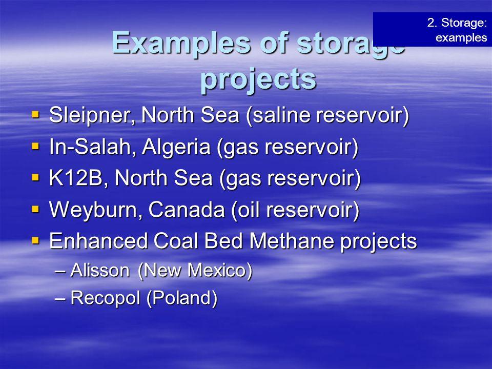 Examples of storage projects  Sleipner, North Sea (saline reservoir)  In-Salah, Algeria (gas reservoir)  K12B, North Sea (gas reservoir)  Weyburn,