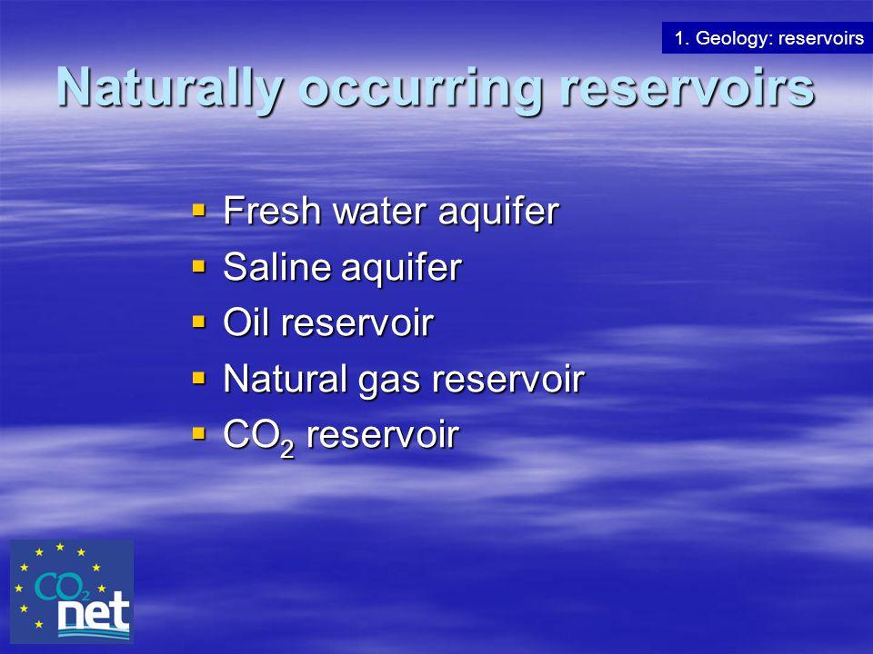 Naturally occurring reservoirs  Fresh water aquifer  Saline aquifer  Oil reservoir  Natural gas reservoir  CO 2 reservoir 1. Geology: reservoirs