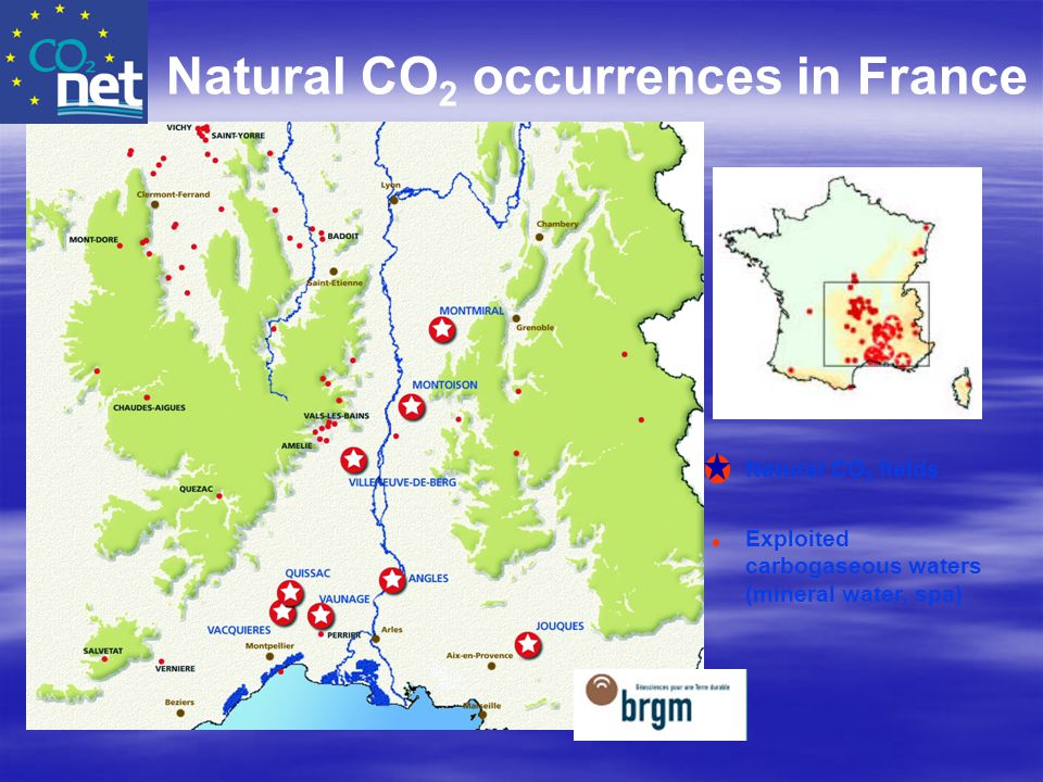 Natural CO 2 fields Exploited carbogaseous waters (mineral water, spa) Natural CO 2 occurrences in France