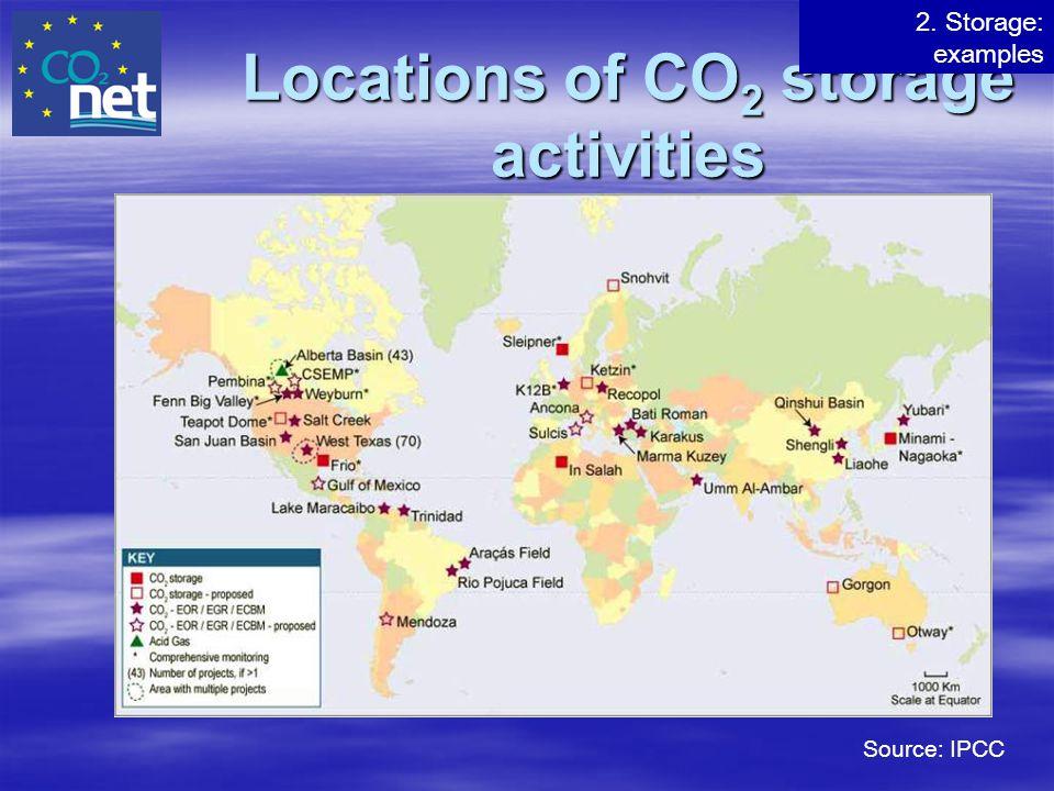 Locations of CO 2 storage activities Source: IPCC 2. Storage: examples