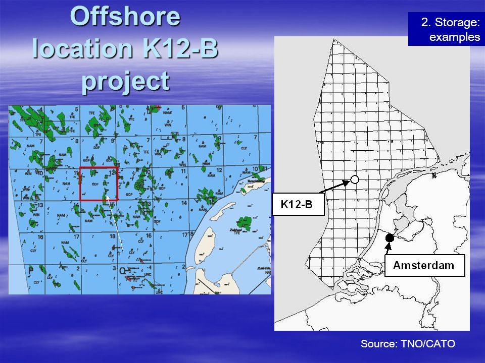 Offshore location K12-B project Source: TNO/CATO 2. Storage: examples