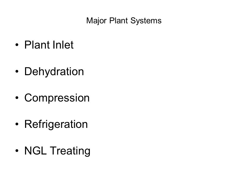 Major Plant Systems Plant Inlet Dehydration Compression Refrigeration NGL Treating