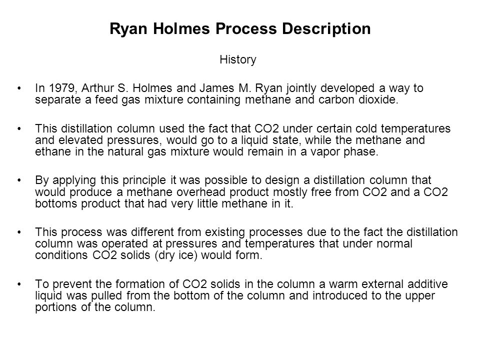 Ryan Holmes Process Description History In 1979, Arthur S. Holmes and James M. Ryan jointly developed a way to separate a feed gas mixture containing