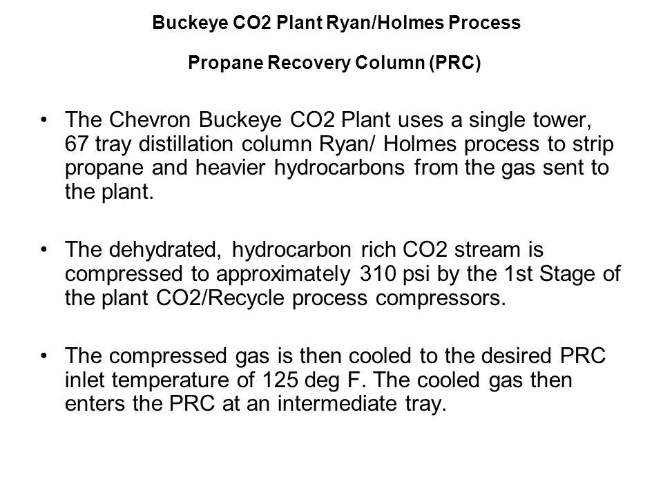 Buckeye CO2 Plant Ryan/Holmes Process Propane Recovery Column (PRC) The Chevron Buckeye CO2 Plant uses a single tower, 67 tray distillation column Rya