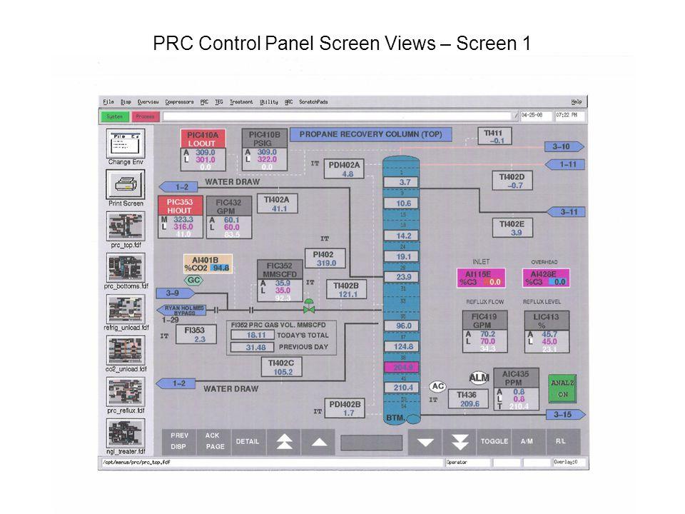 PRC Control Panel Screen Views – Screen 1