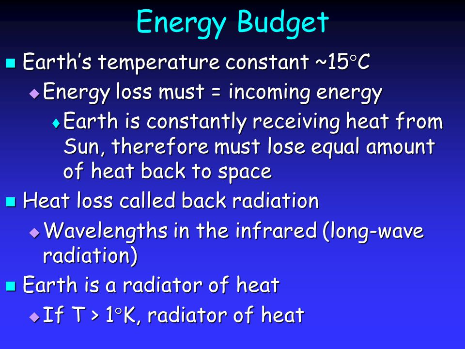 Energy Budget Average Earth's surface temperature ~15  C Average Earth's surface temperature ~15  C Reasonable assumption Reasonable assumption  Surface of Earth radiates heat with an average temperature of 15  C However, satellite data indicate Earth radiating heat average temperature ~-16  C However, satellite data indicate Earth radiating heat average temperature ~-16  C Why the discrepancy.