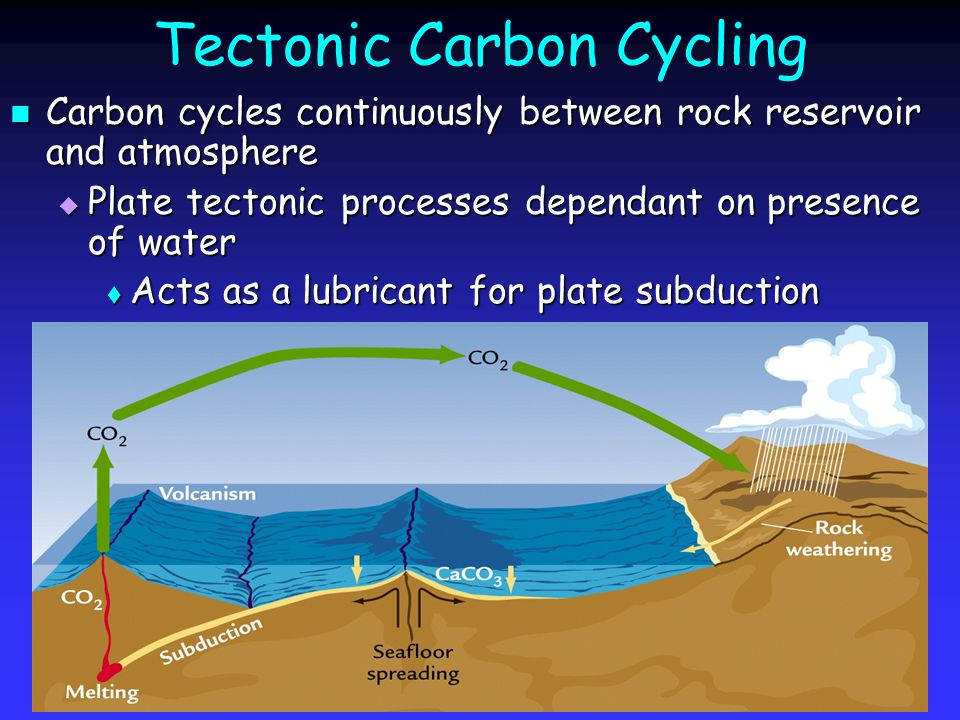 Tectonic Carbon Cycling Carbon cycles continuously between rock reservoir and atmosphere Carbon cycles continuously between rock reservoir and atmosphere  Plate tectonic processes dependant on presence of water  Acts as a lubricant for plate subduction