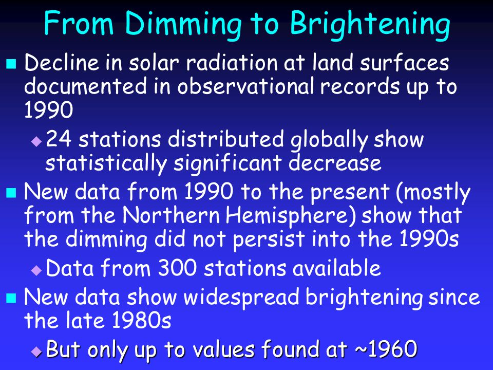 From Dimming to Brightening Decline in solar radiation at land surfaces documented in observational records up to 1990   24 stations distributed globally show statistically significant decrease New data from 1990 to the present (mostly from the Northern Hemisphere) show that the dimming did not persist into the 1990s   Data from 300 stations available New data show widespread brightening since the late 1980s  But only up to values found at ~1960