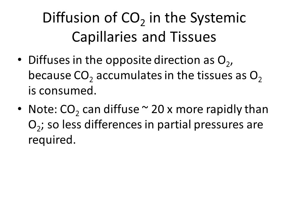 Diffusion of CO 2 in the Pulmonary Capillaries The P CO2 in the tissues ~ 46 mm Hg and the P CO2 in the interstitial fluid ~ 45 mm Hg.
