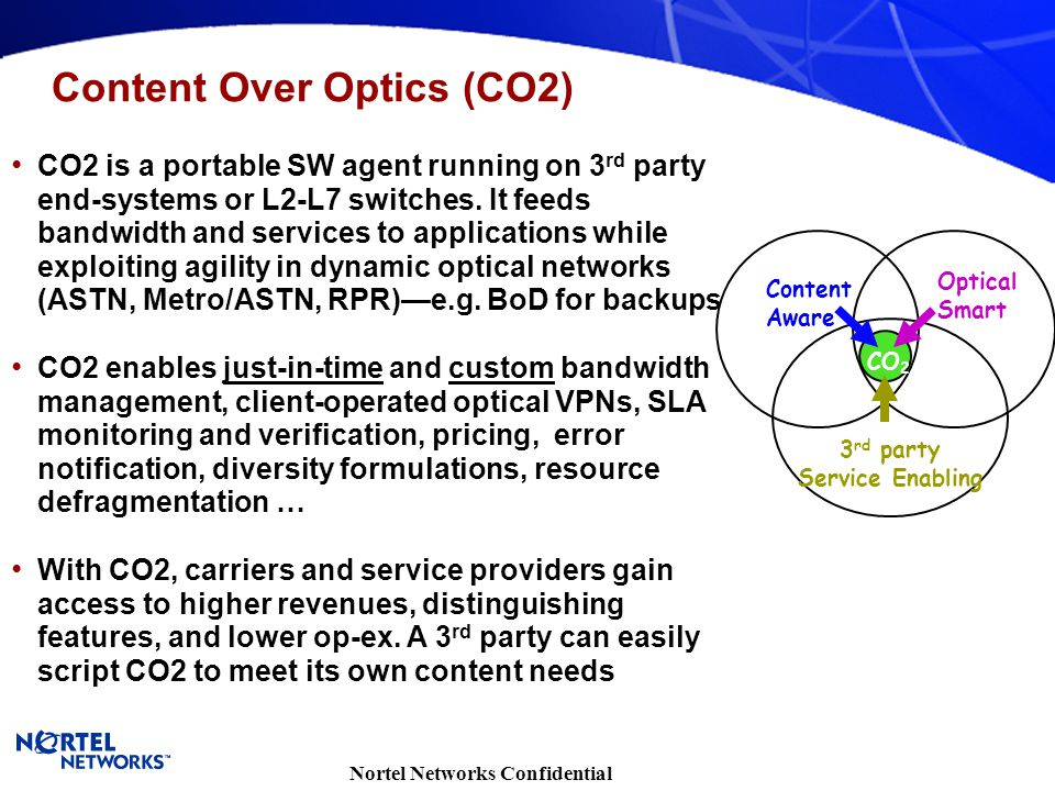 Nortel Networks Confidential CO2 is a portable SW agent running on 3 rd party end-systems or L2-L7 switches. It feeds bandwidth and services to applic