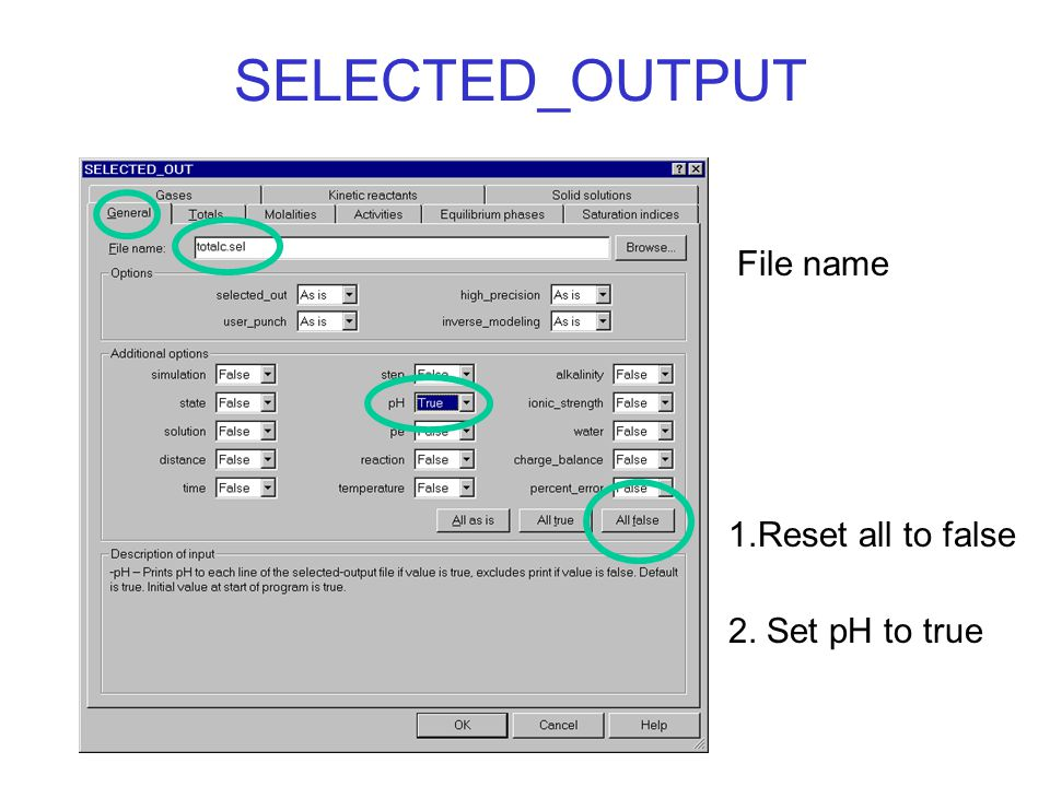 SELECTED_OUTPUT 1.Reset all to false File name 2. Set pH to true