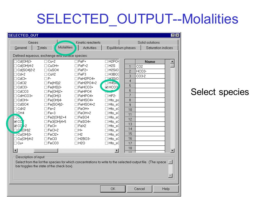 SELECTED_OUTPUT--Molalities Select species