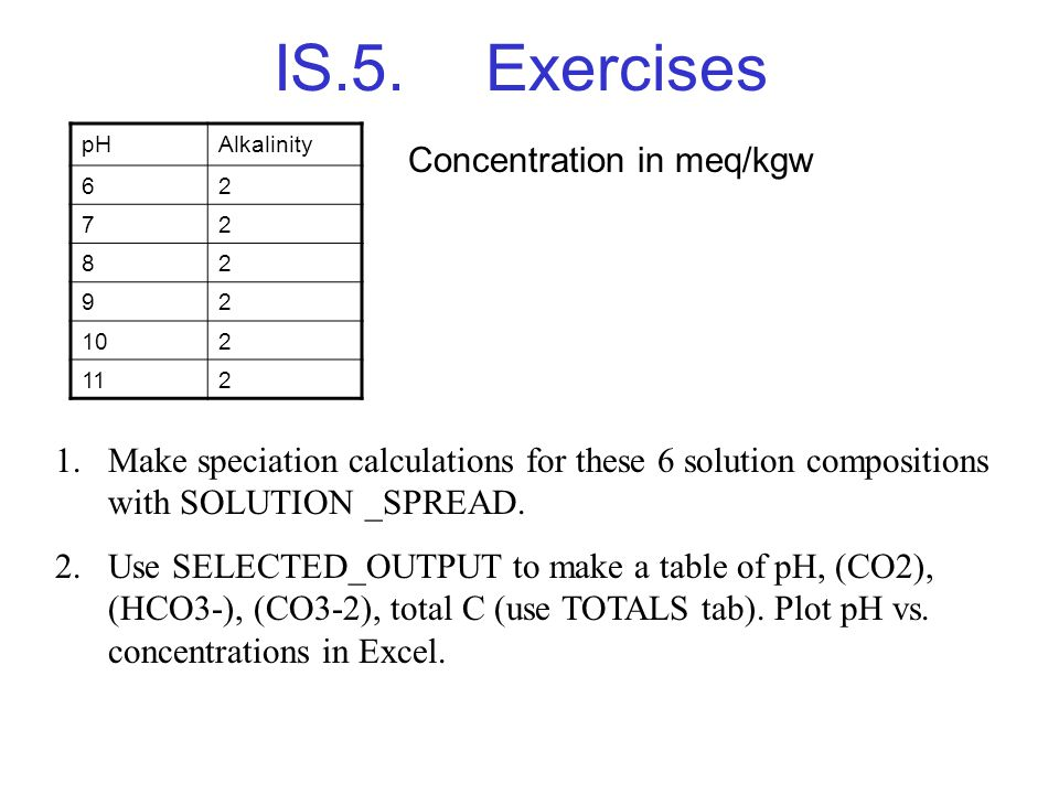 IS.5.Exercises pHAlkalinity 62 72 82 92 102 112 Concentration in meq/kgw 1.Make speciation calculations for these 6 solution compositions with SOLUTIO