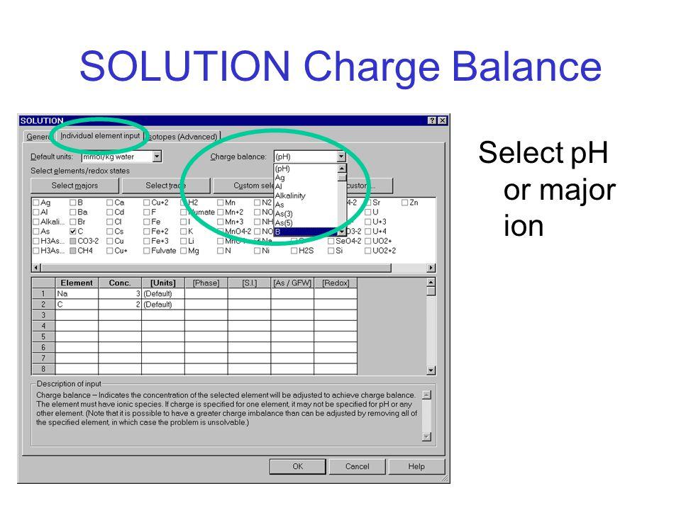 SOLUTION Charge Balance Select pH or major ion