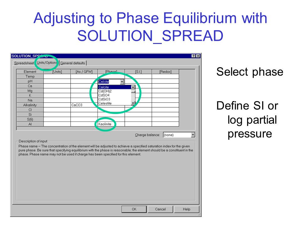 Adjusting to Phase Equilibrium with SOLUTION_SPREAD Select phase Define SI or log partial pressure
