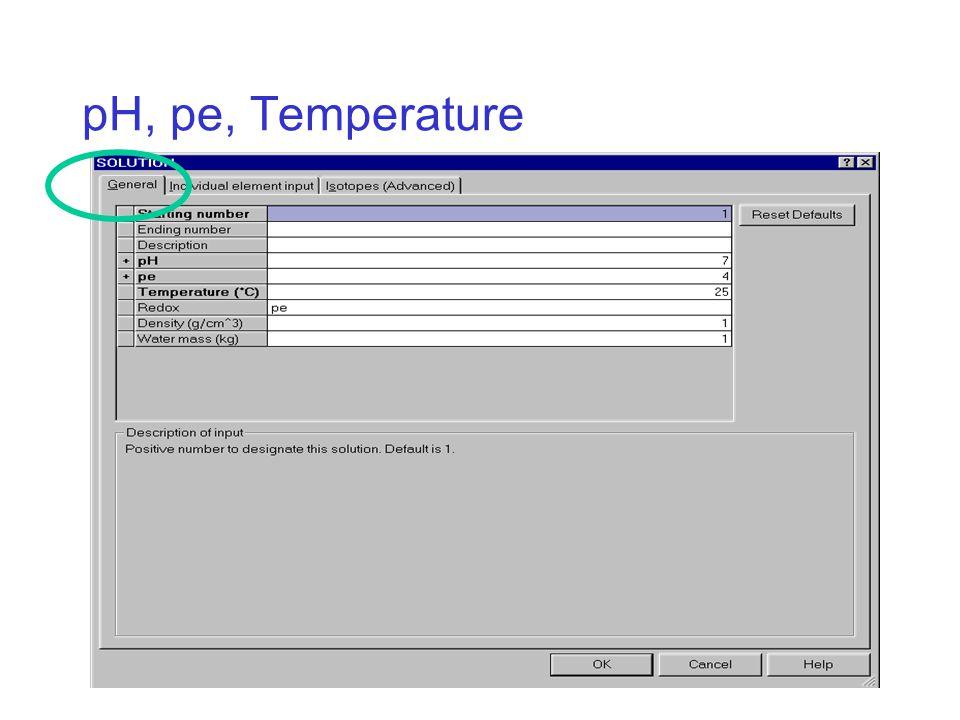 pH, pe, Temperature