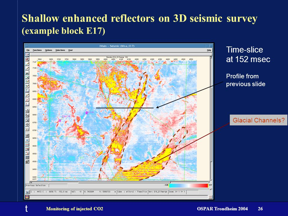 t OSPAR Trondheim 2004Monitoring of injected CO226 Time-slice at 152 msec Profile from previous slide Shallow enhanced reflectors on 3D seismic survey