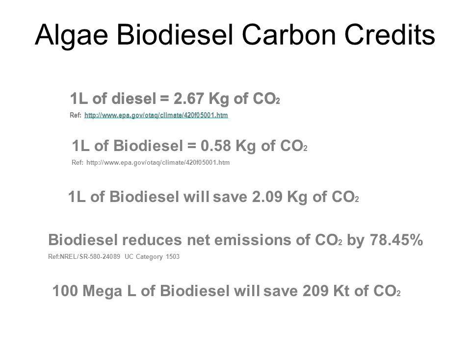 1L of diesel = 2.67 Kg of CO 2 Ref: http://www.epa.gov/otaq/climate/420f05001.htmhttp://www.epa.gov/otaq/climate/420f05001.htm Biodiesel reduces net emissions of CO 2 by 78.45% Ref:NREL/SR-580-24089 UC Category 1503 1L of Biodiesel will save 2.09 Kg of CO 2 100 Mega L of Biodiesel will save 209 Kt of CO 2 1L of diesel = 2.67 Kg of CO 2 Ref: http://www.epa.gov/otaq/climate/420f05001.htm 1L of Biodiesel = 0.58 Kg of CO 2 Ref: http://www.epa.gov/otaq/climate/420f05001.htm Algae Biodiesel Carbon Credits