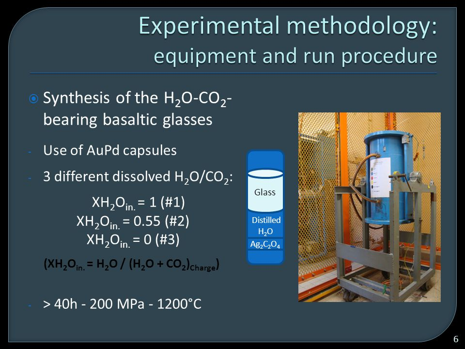  Synthesis of the H 2 O-CO 2 - bearing basaltic glasses - Use of AuPd capsules - 3 different dissolved H 2 O/CO 2 : XH 2 O in.