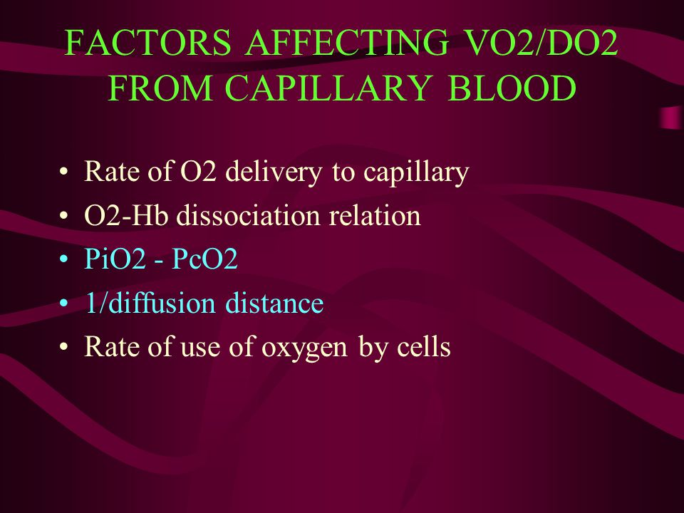 FACTORS AFFECTING VO2/DO2 FROM CAPILLARY BLOOD Rate of O2 delivery to capillary O2-Hb dissociation relation PiO2 - PcO2 1/diffusion distance Rate of u