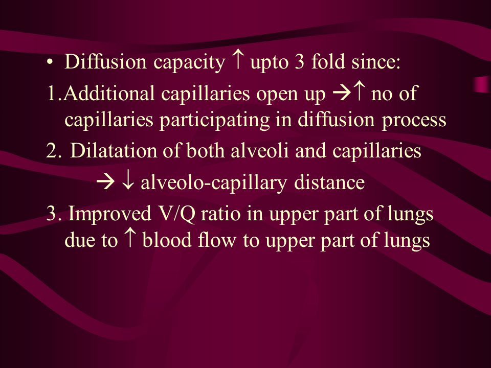 Diffusion capacity  upto 3 fold since: 1.Additional capillaries open up   no of capillaries participating in diffusion process 2. Dilatation of bot