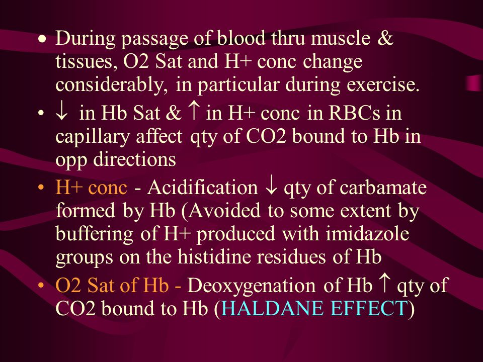  During passage of blood thru muscle & tissues, O2 Sat and H+ conc change considerably, in particular during exercise.  in Hb Sat &  in H+ conc in