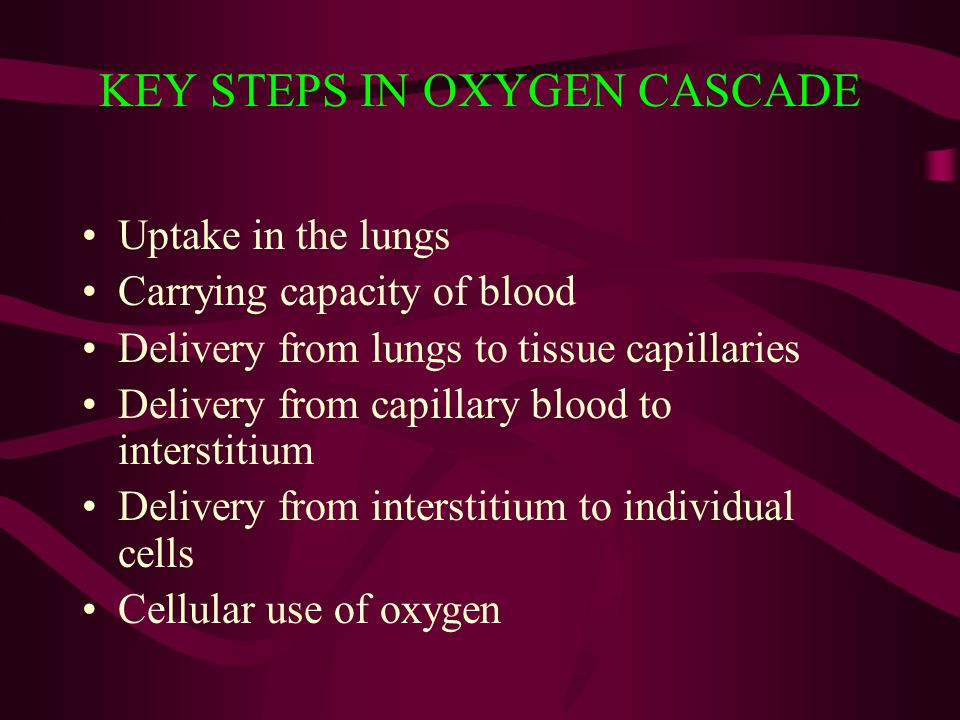 KEY STEPS IN OXYGEN CASCADE Uptake in the lungs Carrying capacity of blood Delivery from lungs to tissue capillaries Delivery from capillary blood to