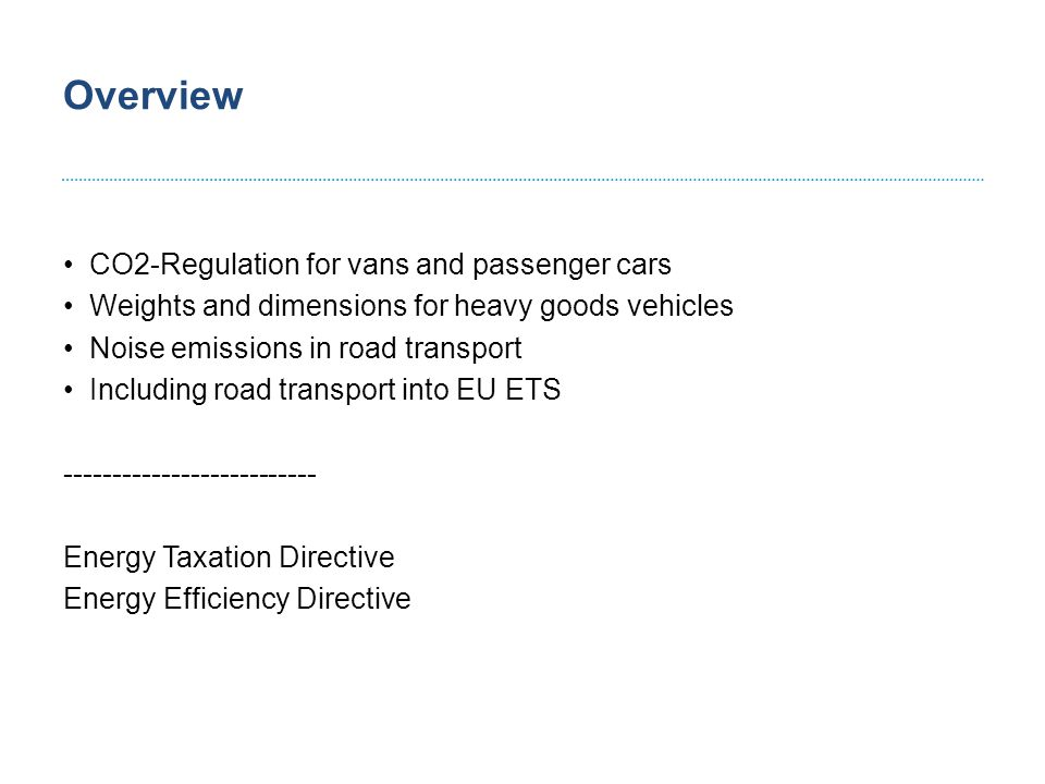 CO2-Regulation for vans and passenger cars Connie Hedegaard Current situation: CO2 Regulation for light commercial vehicles (EU) No 510/2011 and for passenger cars (EC) No 443/2009 Setting-up CO2-emissions limit values till 2020 Cars reduction in average CO2 emissions from new cars to 120 g/km encompassing a 10 g reduction to come from complementary measures gradual implementation: 65% - 2012; 75% - 2013; 80% - 2014; 100% - 2015 eco-innovations will count for up to 7 g penalties: €5 to €25 for excesses of 1-3 g/km; €95 for each subsequent g  Average new car CO2 emissions should fall to 95 g/km in 2020