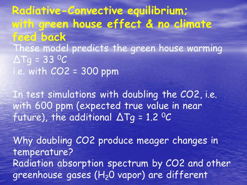 Radiative-Convective equilibrium; with green house effect & no climate feed back These model predicts the green house warming ΔTg = 33 0 C i.e.