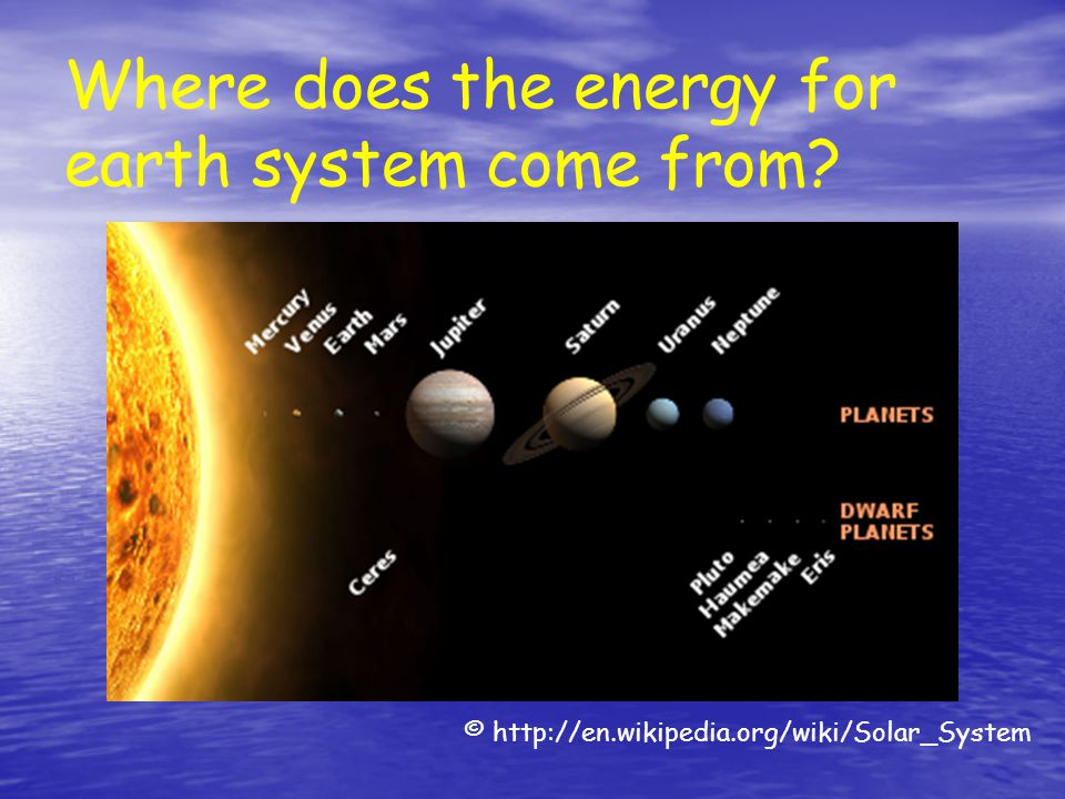 Where does the energy for earth system come from? © http://en.wikipedia.org/wiki/Solar_System