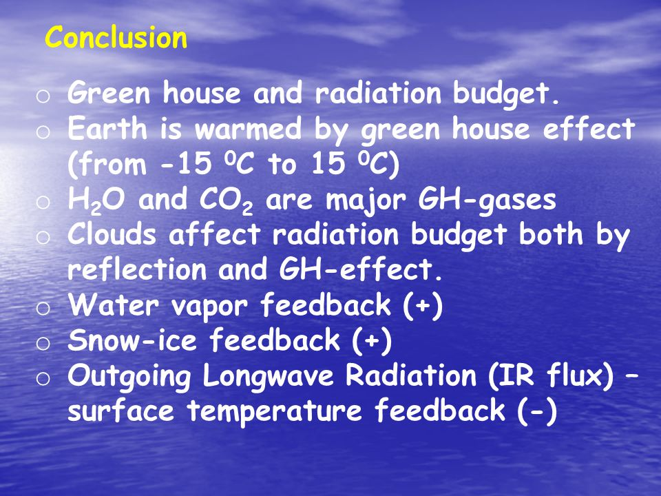 Conclusion o Green house and radiation budget.