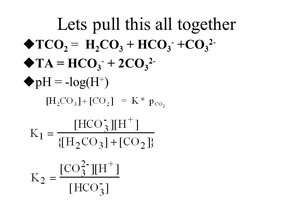 Lets pull this all together  TCO 2 = H 2 CO 3 + HCO 3 - +CO 3 2-  TA = HCO 3 - + 2CO 3 2-  pH = -log(H + )