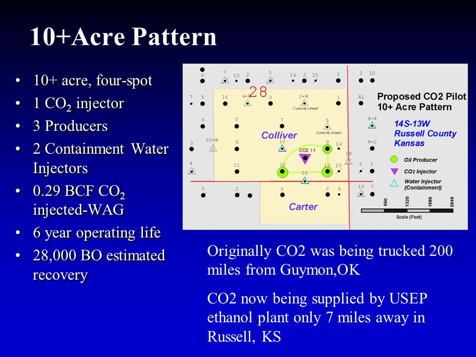 10+Acre Pattern 10+ acre, four-spot 1 CO 2 injector 3 Producers 2 Containment Water Injectors 0.29 BCF CO 2 injected-WAG 6 year operating life 28,000 BO estimated recovery 10+ acre, four-spot 1 CO 2 injector 3 Producers 2 Containment Water Injectors 0.29 BCF CO 2 injected-WAG 6 year operating life 28,000 BO estimated recovery Originally CO2 was being trucked 200 miles from Guymon,OK CO2 now being supplied by USEP ethanol plant only 7 miles away in Russell, KS