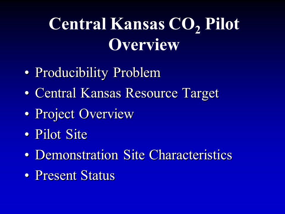Central Kansas CO 2 Pilot Overview Producibility Problem Central Kansas Resource Target Project Overview Pilot Site Demonstration Site Characteristics