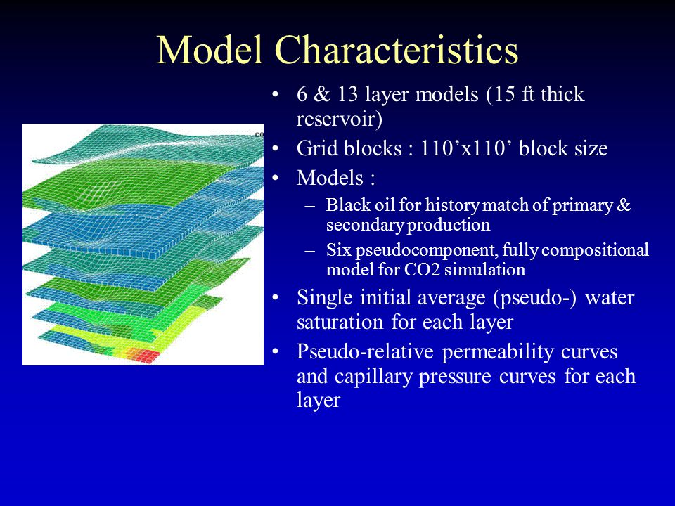 Model Characteristics 6 & 13 layer models (15 ft thick reservoir) Grid blocks : 110'x110' block size Models : –Black oil for history match of primary