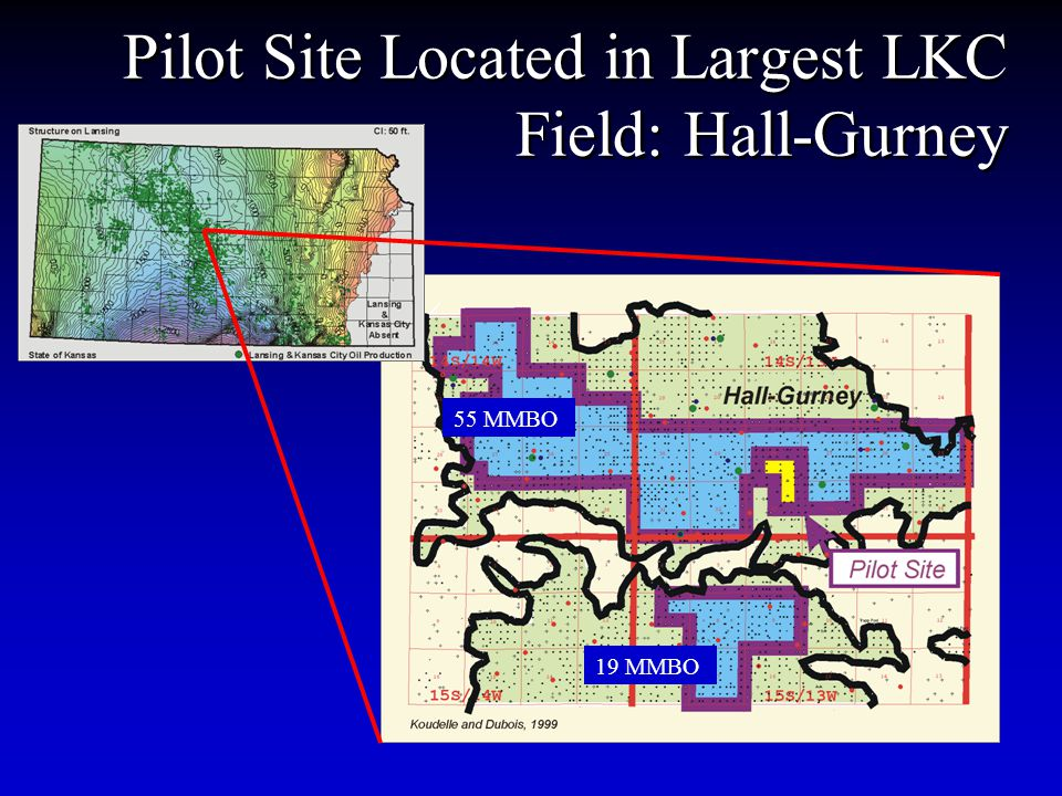 Pilot Site Located in Largest LKC Field: Hall-Gurney 55 MMBO 19 MMBO